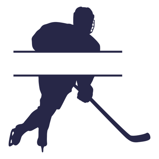 Ice hockey player label silhouette