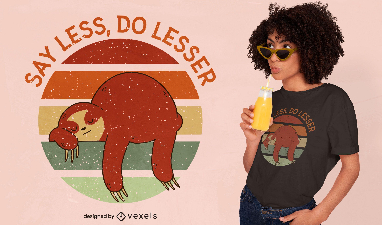 Diseño de camiseta retro sunset sloth