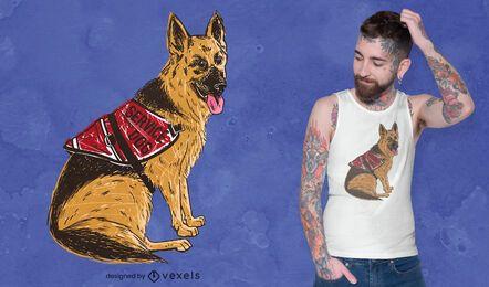 Diseño de camiseta de perro pastor alemán.