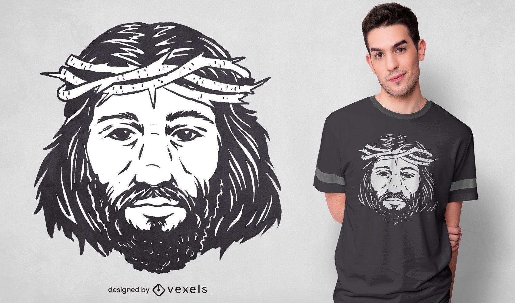 Diseño de camiseta de retrato de jesucristo