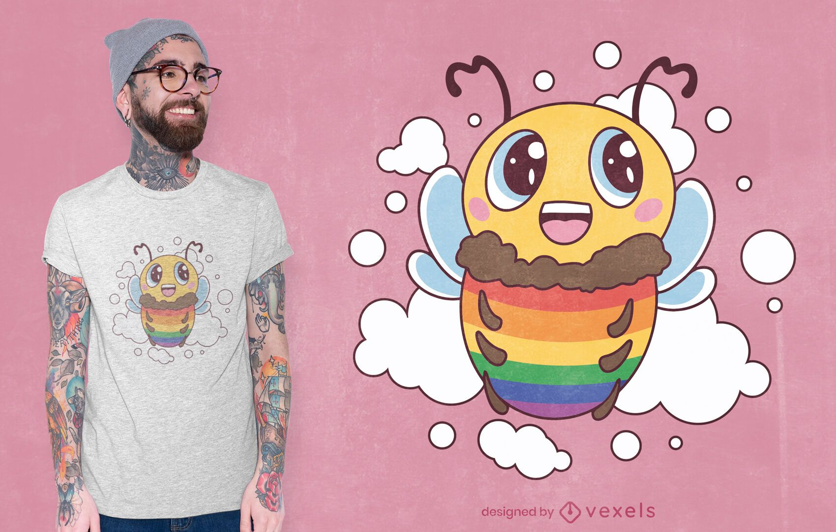 Design de camiseta abelha lgbt