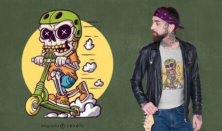 Diseño de camiseta de scooter de truco esqueleto.