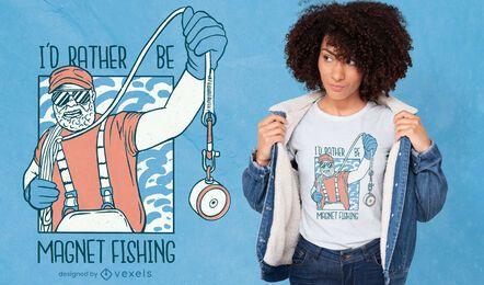 Design de camiseta de pesca com ímã