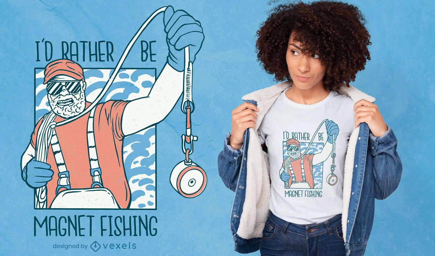 Diseño de camiseta de pesca con imán.
