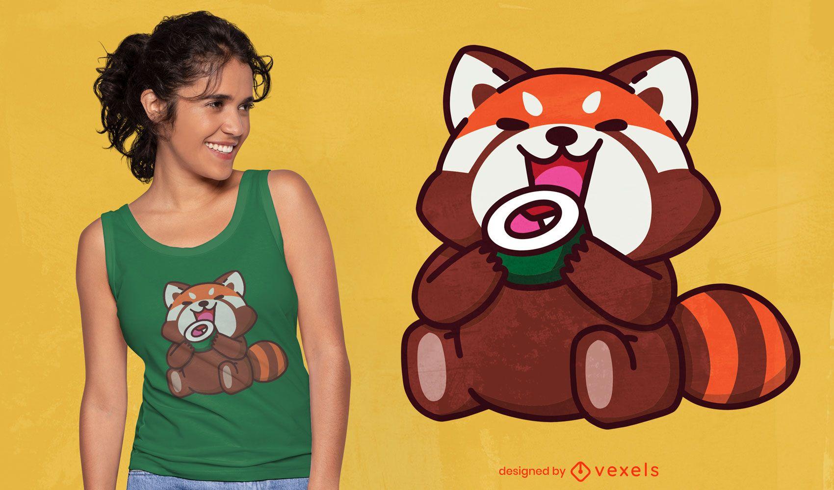 Red panda eating sushi t-shirt design