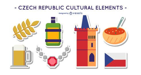 Czech republic cultural element set