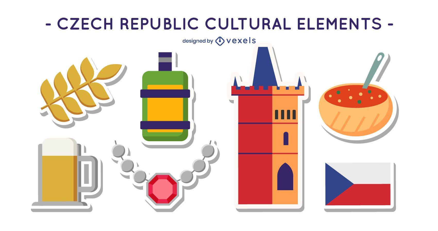 Czech republic cultural element set