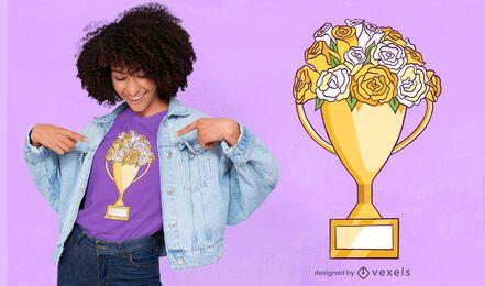 Diseño de camiseta de flores trofeo.