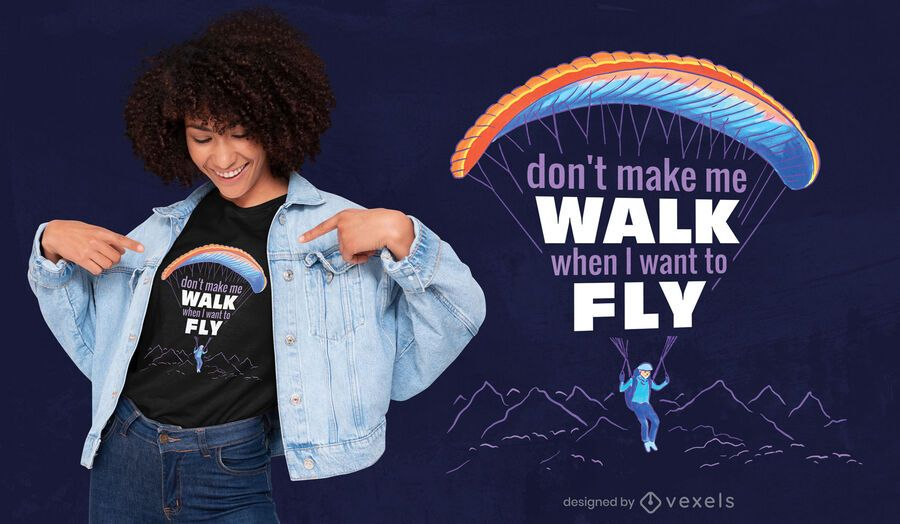 Paragliding sport flying t-shirt design