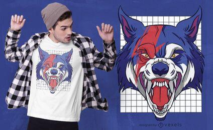 Diseño de camiseta de criatura hombre lobo.