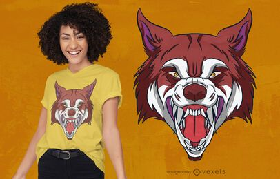 Wolf head roaring t-shirt design