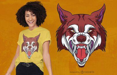 Wolfskopf brüllendes T-Shirt Design