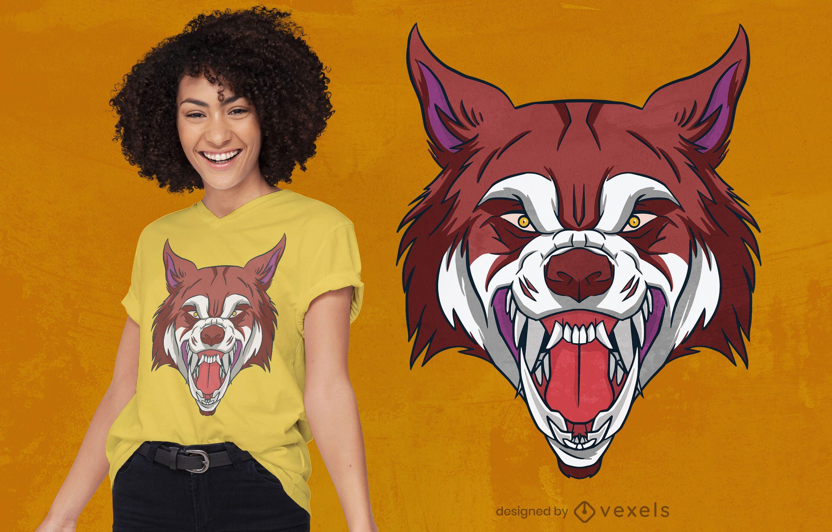 Diseño de camiseta rugiendo cabeza de lobo