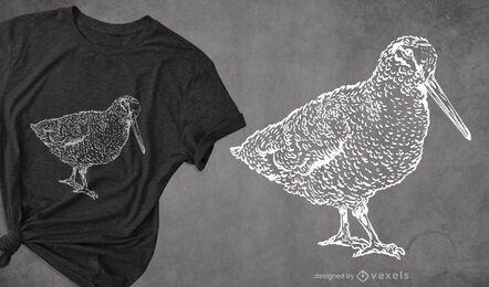 Diseño de camiseta dibujada a mano pájaro becada.