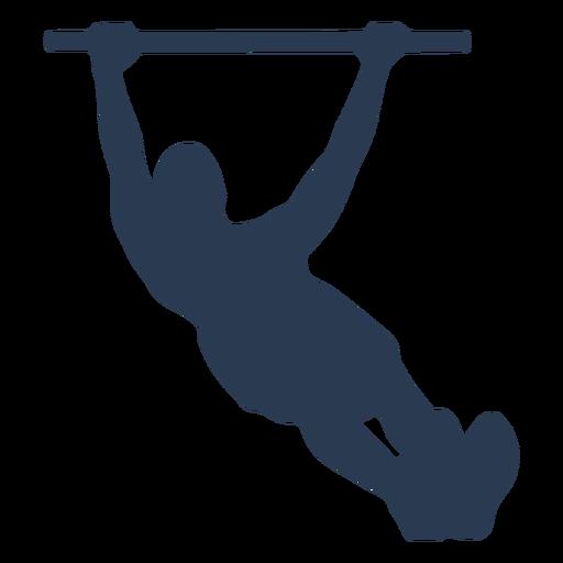 Man's silhouette doing pull ups