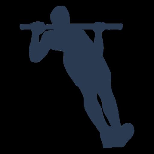 Man's silhouette doing pull ups in horizontal bar