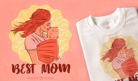 Mother and child family t-shirt design