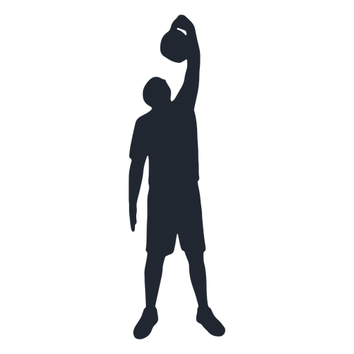 Man standing with kettlebell silhouette