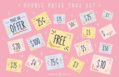 Etiqueta de preço oferece conjunto de doodle fofo