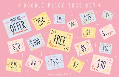 Price tag offers cute doodle set
