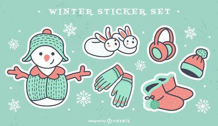 Conjunto de adesivos fofos de roupas quentes de inverno
