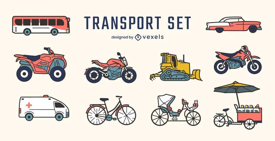 Conjunto de vista lateral de vehículos de transporte.