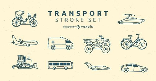 Transportation modes side-view line art set