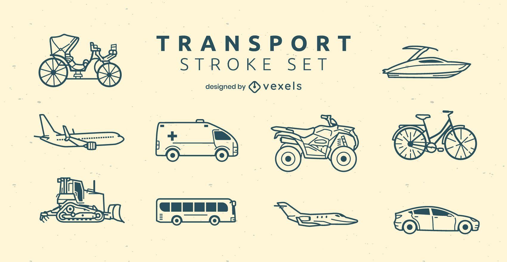 Transportation modes side-view line art set