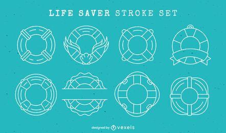 Conjunto de elementos de linha de anéis de flutuação salva-vidas