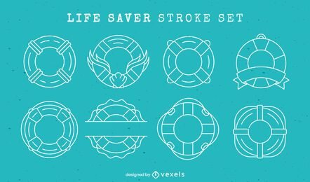 Life saver float rings line art element set