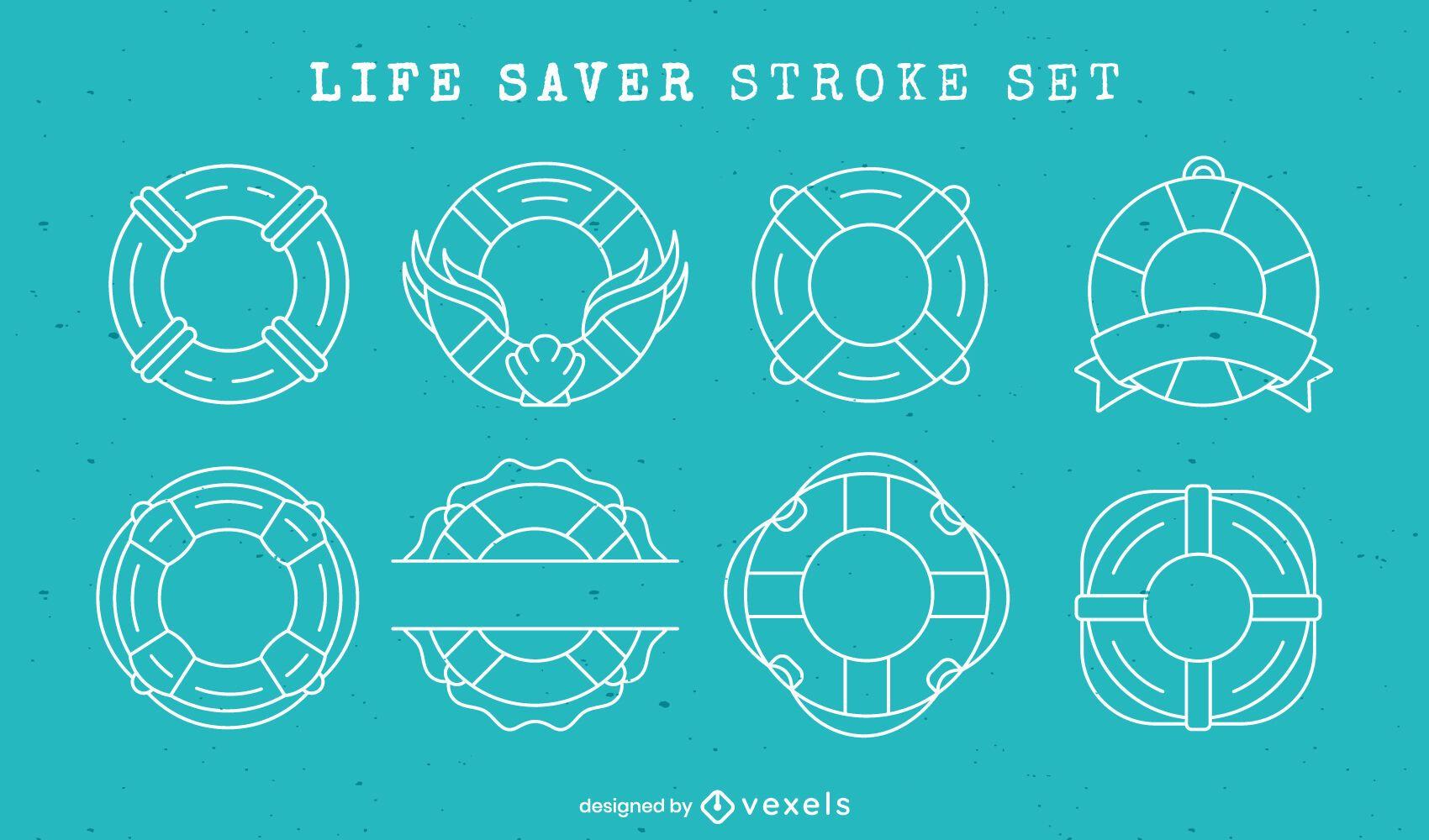 Life saver float rings line art element set