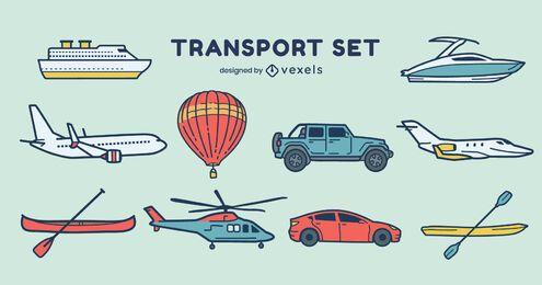 Conjunto de visão lateral dos modos de transporte