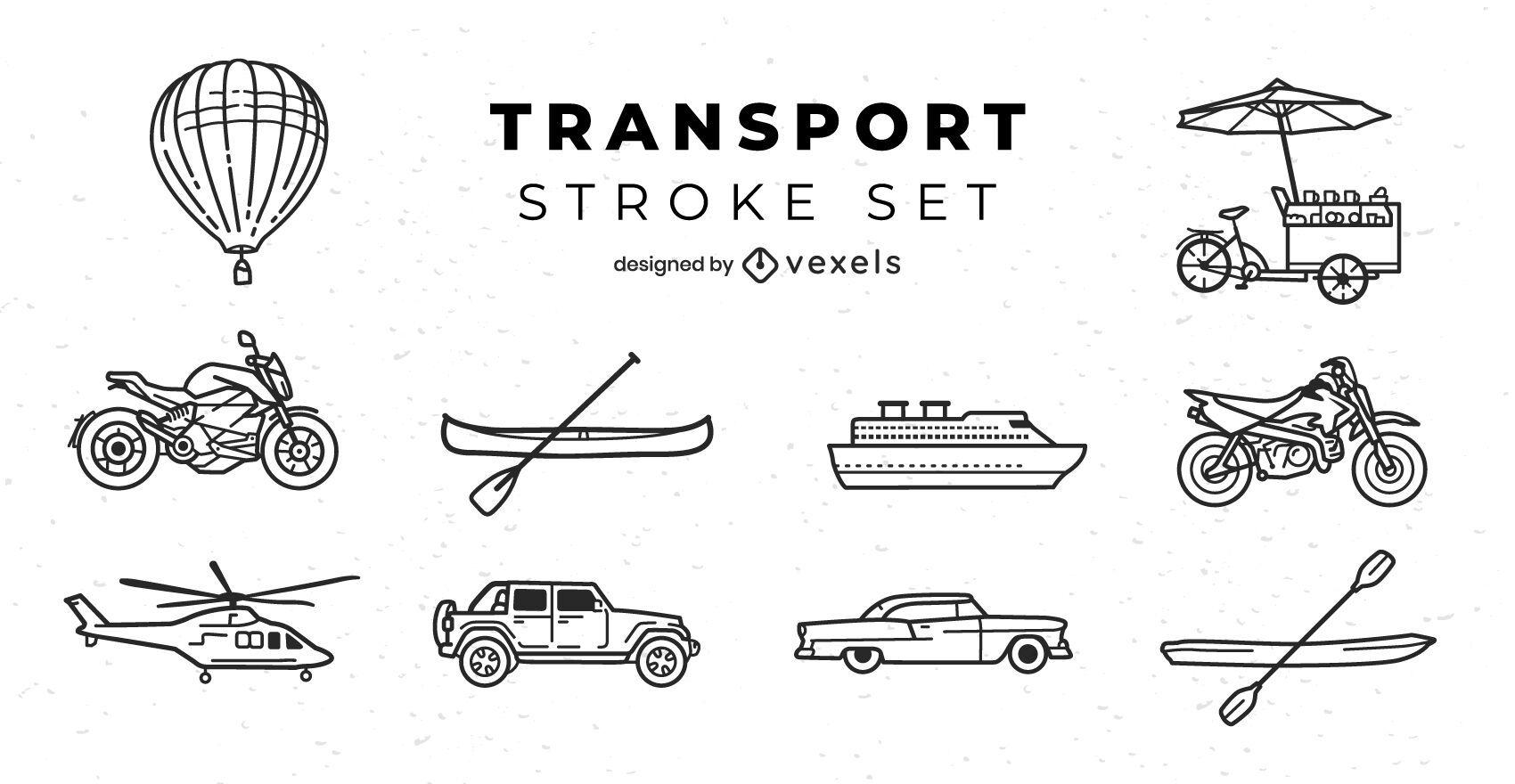 Transportation modes line art set