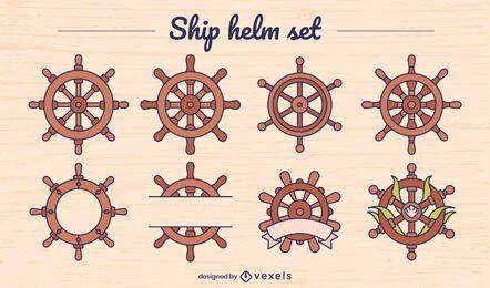 Conjunto de elementos de cores da roda de leme de navio