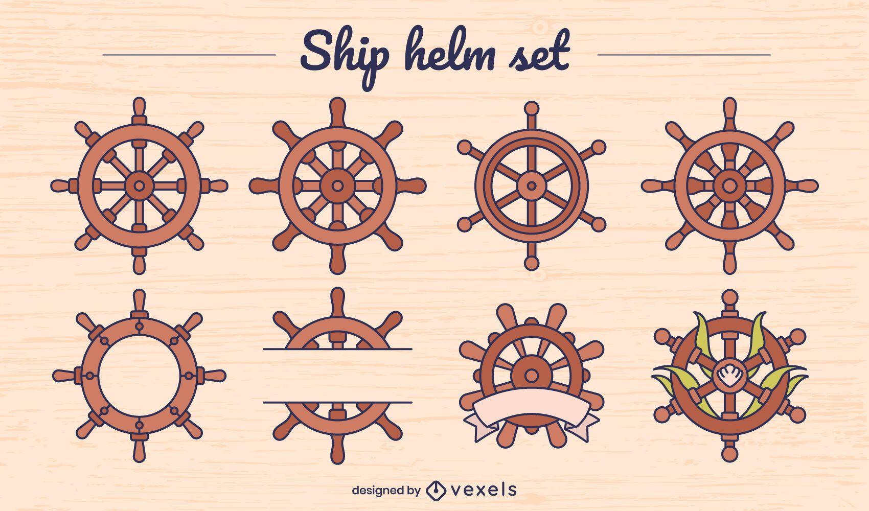 Conjunto de elementos de color de rueda de timones de barco