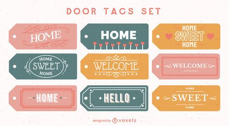 Door tags home lettering element set
