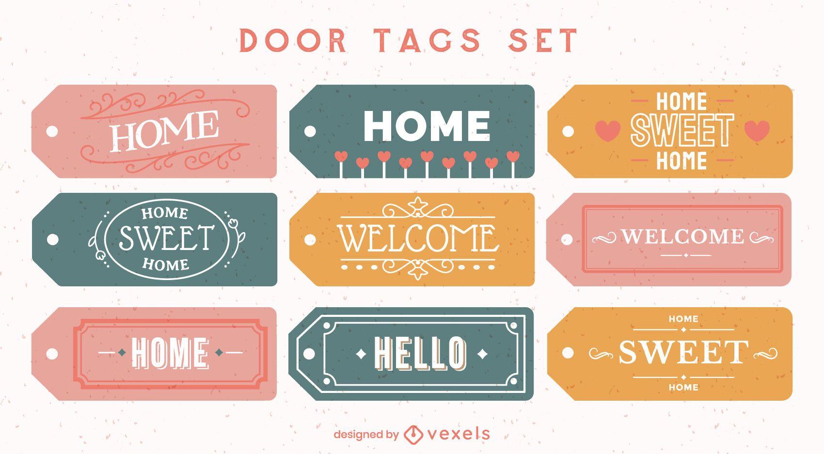 Door tags home lettering element set