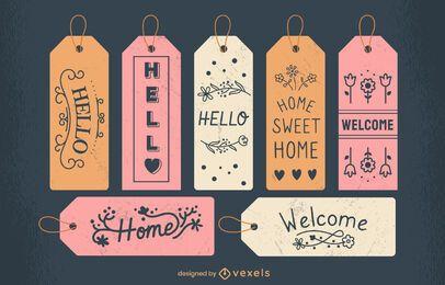 Etiquetas de puerta dulce hogar conjunto de letras