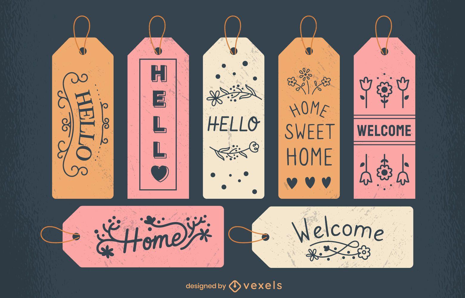 Door tags sweet home lettering set