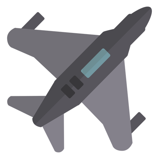 Military jet plane from top semi flat