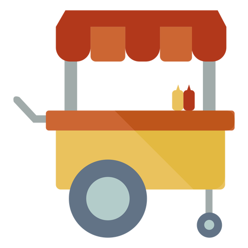 Fast food cart semi flat