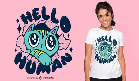 Gato fofo dizendo olá design de camiseta