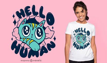 Nette Katze, die Hallo T-Shirt Design sagt