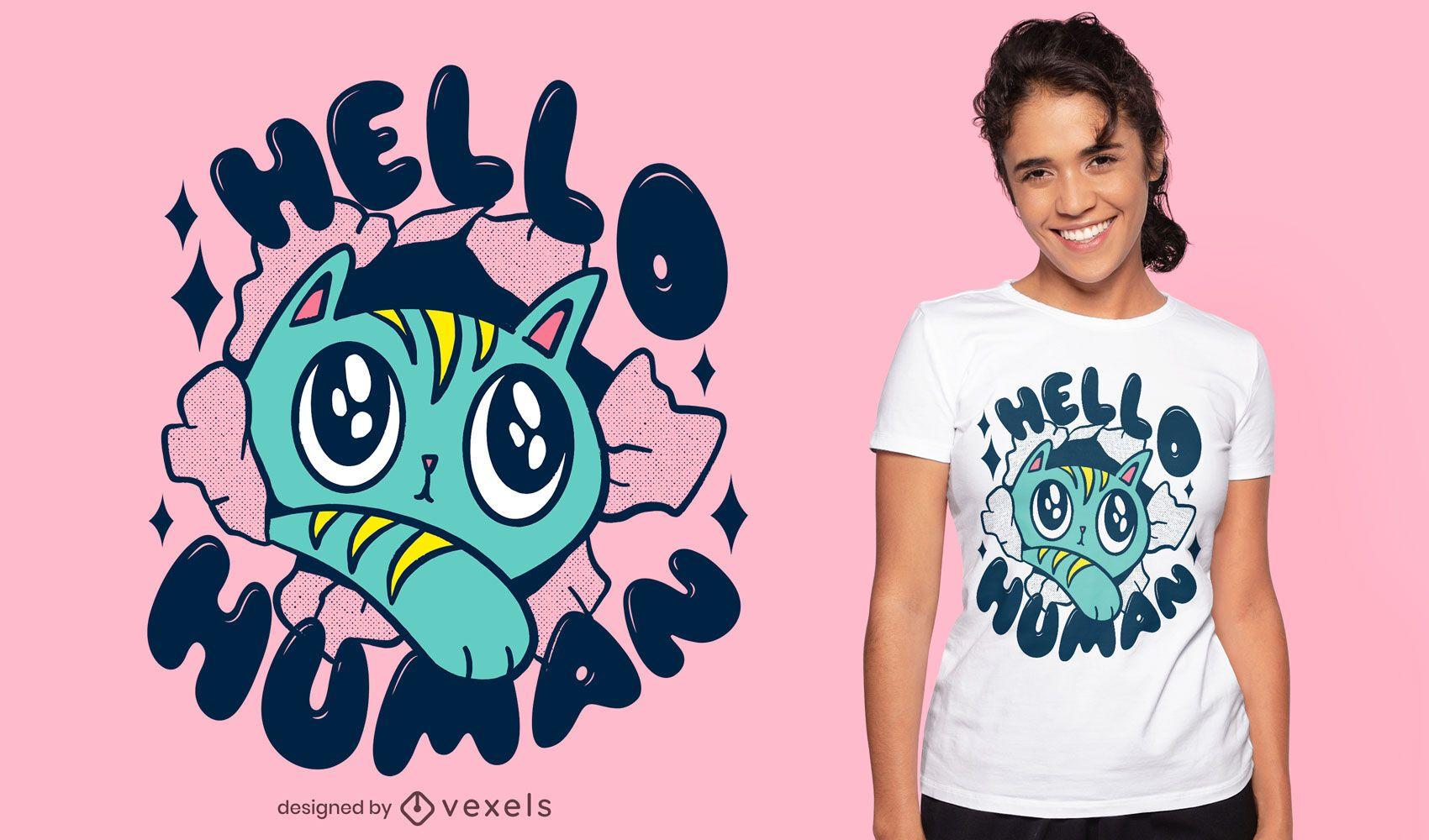 Cute cat saying hello t-shirt design