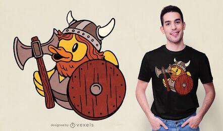 Diseño de camiseta de pato de goma vikingo.