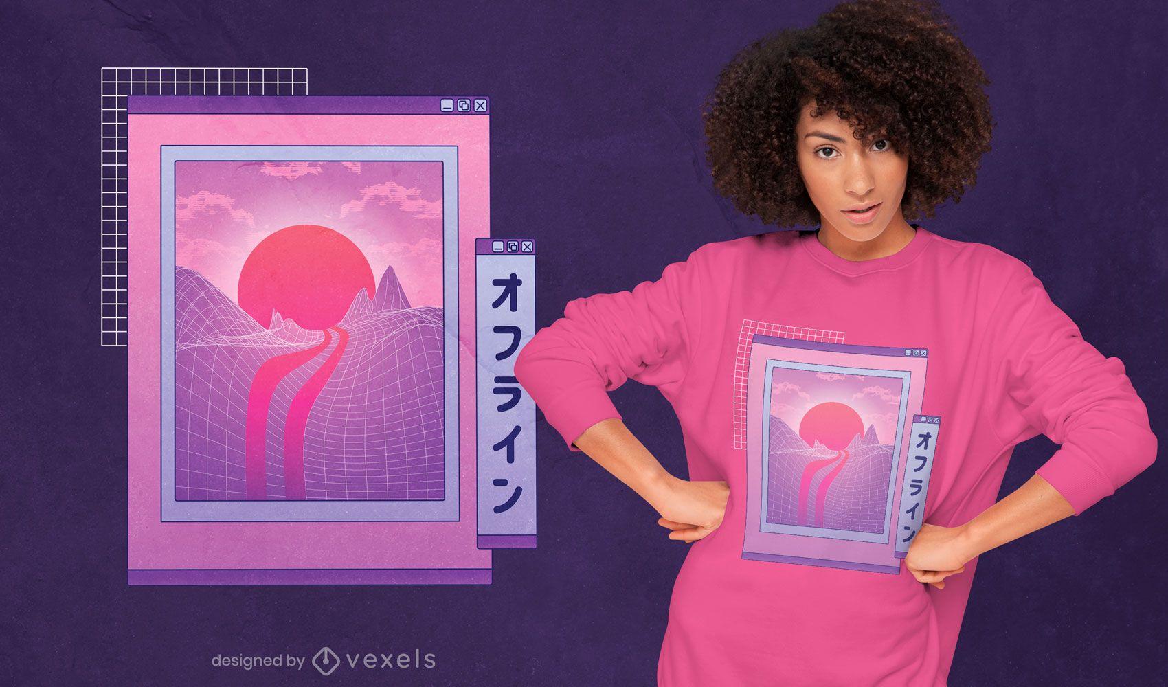 Diseño de camiseta de paisaje japonés vaporwave.