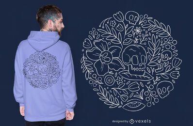 Diseño de camiseta de naturaleza de calaveras y flores.
