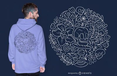 Skulls and flowers nature t-shirt design