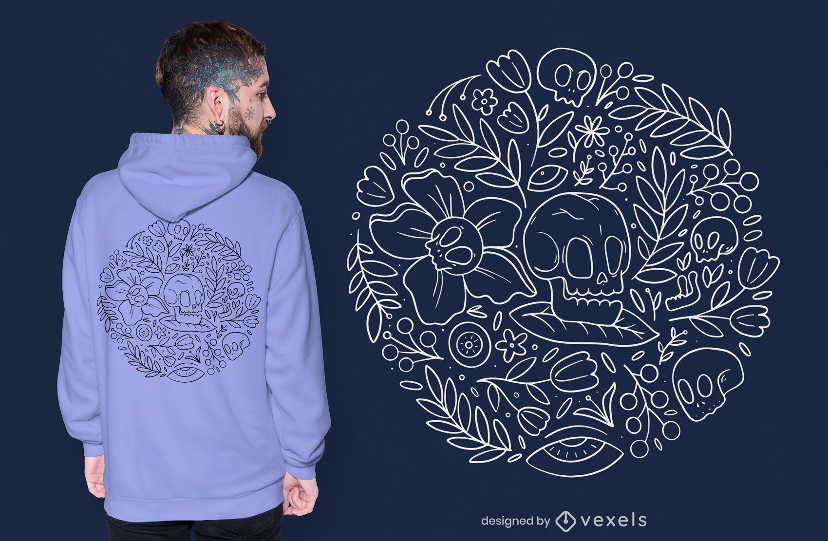Skulls and flowers nature t-shirt design