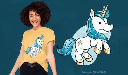Baby unicorn cartoon creature t-shirt design